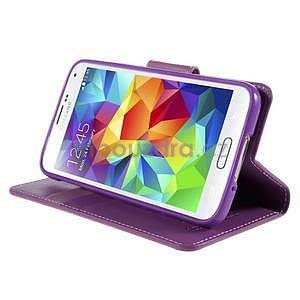 Elegantní peňaženkové puzdro pre Samsung Galaxy S5 - fialové - 5