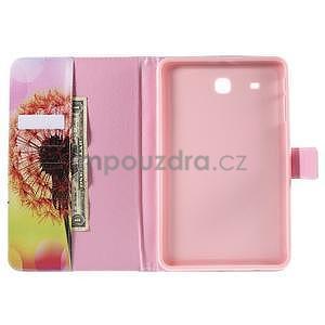 Ochranné koženkové puzdro na Samsung Galaxy Tab E 9.6 - oranžové púpavy - 5