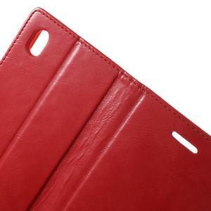 Moon PU kožené puzdro pre mobil Sony Xperia M4 Aqua - červené - 5