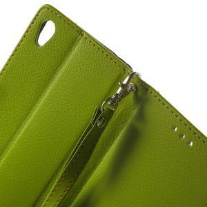 Leaf PU kožené puzdro pre mobil Sony Xperia M4 Aqua - zelené - 5