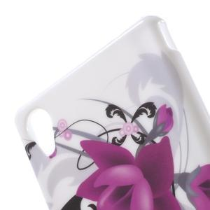 Emotive gélový obal pre Sony Xperia M4 Aqua - fialový kvet - 5