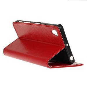 Horse PU kožené pouzdro na Sony Xperia X - červené - 5