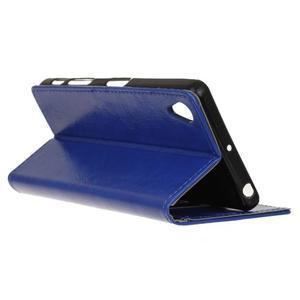 Horse PU kožené puzdro pre Sony Xperia X - modré - 5
