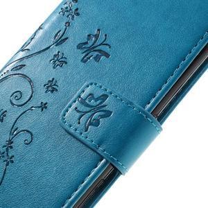 Butterfly PU kožené puzdro pre Sony Xperia X - modré - 5
