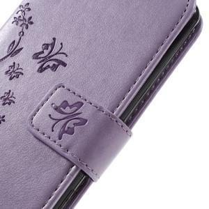 Butterfly PU kožené pouzdro na Sony Xperia X - fialové - 5