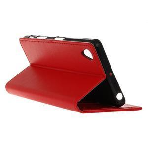 Grain koženkové puzdro pre Sony Xperia X - červené - 5