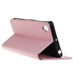 Grain koženkové puzdro pre Sony Xperia X - ružové - 5