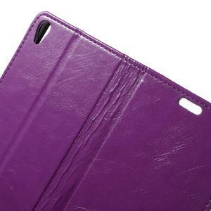 Horse PU kožené pouzdro na mobil Sony Xperia XA - fialové - 5