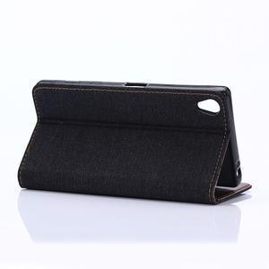 Jeans Peňaženkové puzdro pre mobil Sony Xperia XA - černomodré - 5