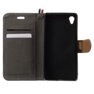 Denim textilné/koženkové puzdro pre Sony Xperia XA - čierne - 5