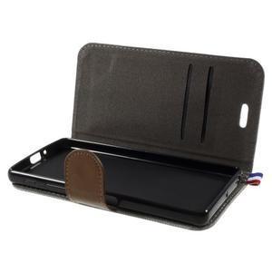 Denim textilní/koženkové pouzdro na Sony Xperia XA - šedé - 5