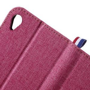 Denim textilné/koženkové puzdro pre Sony Xperia XA - rose - 5