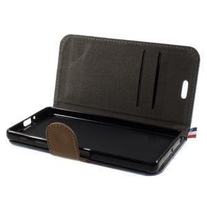 Denim textilní/koženkové pouzdro na Sony Xperia XA - světlemodré - 5