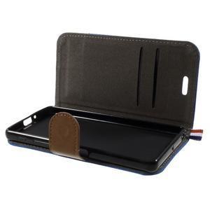 Denim textilní/koženkové pouzdro na Sony Xperia XA - modré - 5