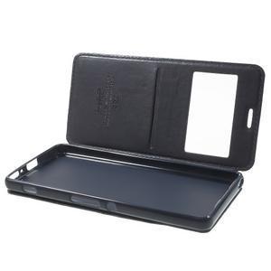 Royal PU kožené puzdro s okienkom na Sony Xperia XA - tmavomodré - 5