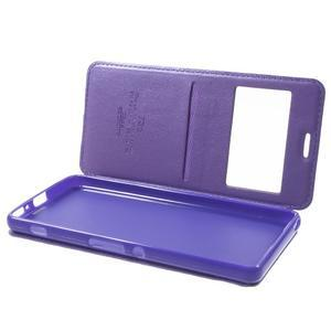 Royal PU kožené puzdro s okienkom na Sony Xperia XA - fialové - 5