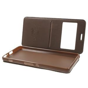 Royal PU kožené puzdro s okienkom na Sony Xperia XA - hnedé - 5