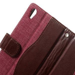 Jeansy PU kožené/textilné puzdro pre Sony Xperia XA - rose - 5