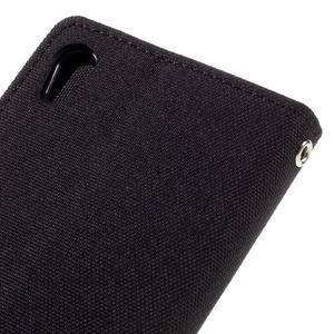 Canvas PU kožené/textilné puzdro pre mobil Sony Xperia XA - čierne - 5