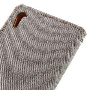 Canvas PU kožené/textilné puzdro pre mobil Sony Xperia XA - sivé - 5