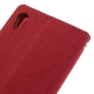 Canvas PU kožené/textilné puzdro pre mobil Sony Xperia XA - červené - 5