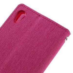 Canvas PU kožené/textilní pouzdro na mobil Sony Xperia XA - rose - 5