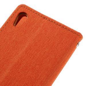 Canvas PU kožené/textilné puzdro pre mobil Sony Xperia XA - oranžové - 5