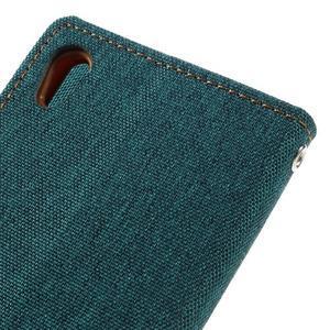 Canvas PU kožené/textilní pouzdro na mobil Sony Xperia XA - zelenomodré - 5