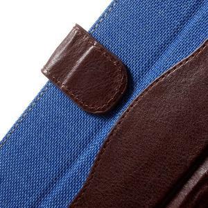 Jeansy PU kožené/textilné puzdro pre Sony Xperia XA - modré - 5