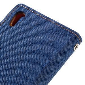 Canvas PU kožené/textilné puzdro pre mobil Sony Xperia XA - modré - 5