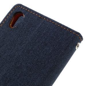 Canvas PU kožené/textilní pouzdro na mobil Sony Xperia XA - tmavěmodré - 5