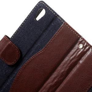 Jeansy PU kožené/textilné puzdro pre Sony Xperia XA - tmavomodré - 5