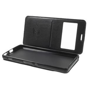 Royal PU kožené puzdro s okienkom na Sony Xperia XA - čierne - 5