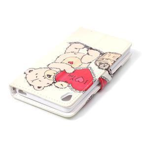 Emotive PU kožené knížkové puzdro pre Sony Xperia XA - medvedík - 5