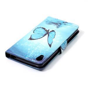 Emotive PU kožené knížkové pouzdro na Sony Xperia XA - modrý motýl - 5