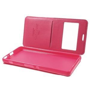 Royal PU kožené pouzdro s okýnkem na Sony Xperia XA - rose - 5