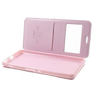 Royal PU kožené puzdro s okienkom na Sony Xperia XA - ružové - 5