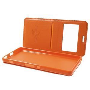 Royal PU kožené puzdro s okienkom na Sony Xperia XA - oranžové - 5