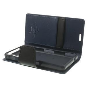 Sonata PU kožené puzdro pre mobil Sony Xperia Z1 Compact - tmavomodré - 5