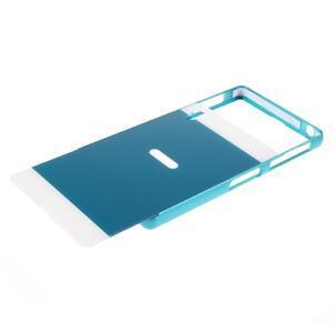 Kovový kryt s plastovými zády na Sony Xperia Z1 - modrý - 5