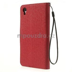 Štýlové Peňaženkové puzdro pre Sony Xperia Z2 - červené/čierne - 5