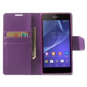 Sonata PU kožené puzdro pre mobil Sony Xperia Z2 - fialové - 5