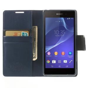 Sonata PU kožené pouzdro na mobil Sony Xperia Z2 - tmavěmodré - 5