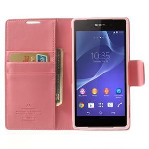 Sonata PU kožené puzdro pre mobil Sony Xperia Z2 - ružové - 5