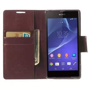 Sonata PU kožené puzdro pre mobil Sony Xperia Z2 - vínovej - 5