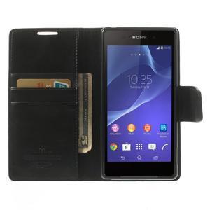 Sonata PU kožené puzdro pre mobil Sony Xperia Z2 - čierne - 5
