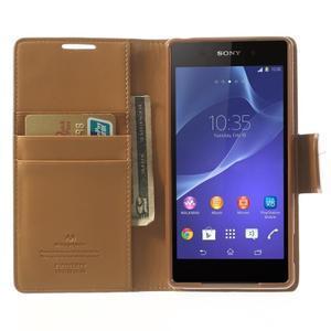 Sonata PU kožené puzdro pre mobil Sony Xperia Z2 - hnedé - 5