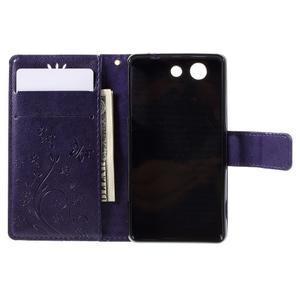 Butterfly PU kožené puzdro pre mobil Sony Xperia Z3 Compact - fialové - 5