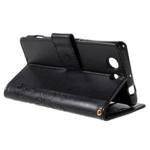 Butterfly PU kožené puzdro pre mobil Sony Xperia Z3 Compact - čierne - 5