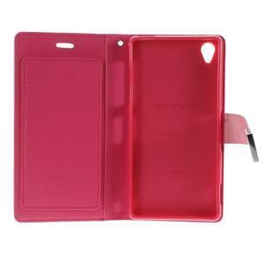 Luxury PU kožené puzdro pre mobil Sony Xperia Z3 - ružové - 5
